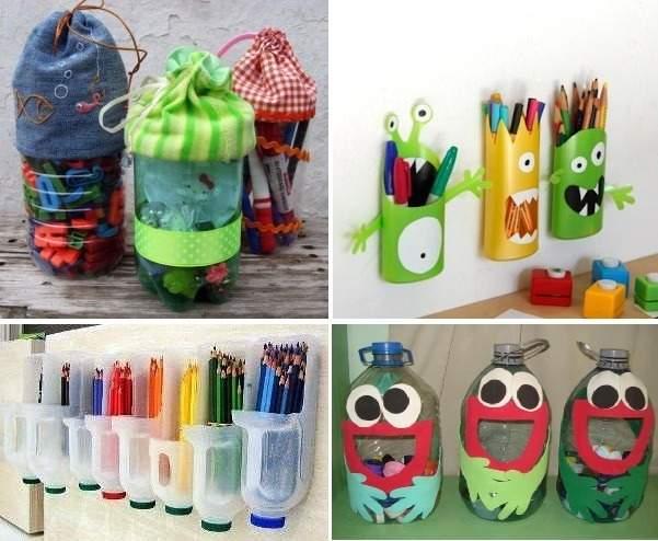 Almacena tus colores en las botellas de plástico