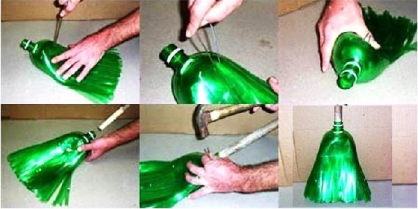 Escoba con botellas de plástico