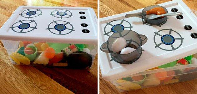Dibuja una cocina en la caja de los juguetes